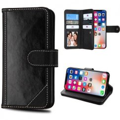 Apple iPhone X Black Genuine Leather Wallet (with Button Closure)(PR011) -WP