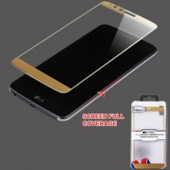 LG G Stylo 3 Full Coverage Tempered Glass Screen Protector/Gold