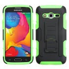 Samsung Galaxy Avant Black/Electric Green Car Armor Stand Protector Cover (Rubberized)