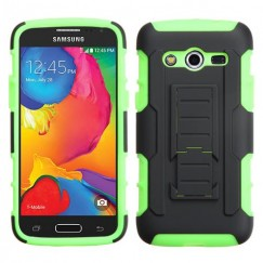 Samsung Galaxy Avant Black/Electric Green Car Armor Stand Case - Rubberized