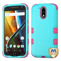 Motorola Moto G4 / Moto G4 Plus Natural Teal Green/Electric Pink Hybrid Case