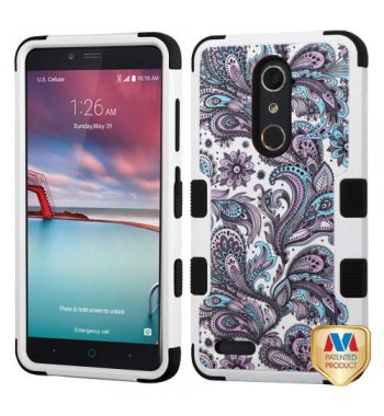 ZTE Grand X Max 2 Purple European Flowers/Black Hybrid Protector Cover