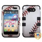 LG Motion 4G Baseball-Sports Collection/Black Hybrid Phone Protector Cover