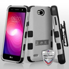 LG X Power 2 Natural Gray/Black Hybrid Case with Stand Military Grade with Black Horizontal Holster