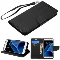 Samsung Galaxy S7 Black Pattern/Black Liner wallet with Lanyard