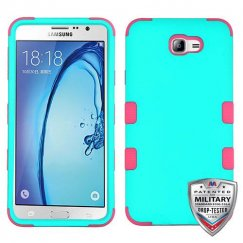 Samsung Galaxy On7 Rubberized Teal Green/Electric Pink Hybrid Case Military Grade