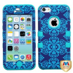 Apple iPhone 5/5s Purple/Blue Damask/Tropical Teal Hybrid Case