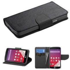LG Tribute Black Pattern/Black Liner wallet with Card Slot