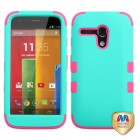 Motorola Moto G Rubberized Teal Green/Electric Pink Hybrid Phone Protector Cover