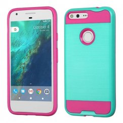 Google Pixel Teal Green/Hot Pink Brushed Hybrid Case