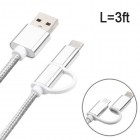Type-C, Micro USB 2-in-1 Silver Data Cable 3 Feet