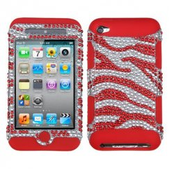 Apple iPod Touch (4th Generation) Zebra Skin (Silver/Red) Diamante/Red Hybrid Case