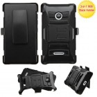 Nokia Lumia 435 Black/Black Advanced Armor Stand Case with Black Holster