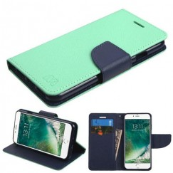 Apple iPhone 7 Teal Green Pattern/Dark Blue Liner wallet with Card Slot