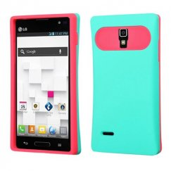 LG Optimus L9 Rubberized Teal Green/Hot Pink Back Case