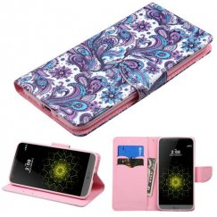 LG G5 Purple European Flowers Wallet