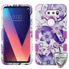 LG V30 Purple Hibiscus Flower Romance/Electric Purple Hybrid Case