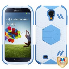 Samsung Galaxy S4 White/Baby Blue Goalkeeper Hybrid Case with Baby Blue Stand