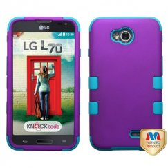 LG Optimus L70 Rubberized Grape/Tropical Teal Hybrid Case