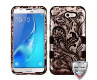 Samsung Galaxy J7 Phoenix Flower (2D Rose Gold)/Black Hybrid Phone Protector Cover [Military-Grade Certified]