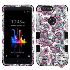 ZTE Blade Z Max / Sequoia Z982 Purple European Flowers/Black Hybrid Case Military Grade
