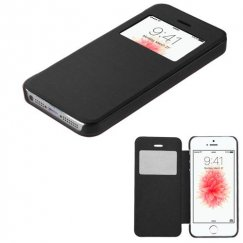 Apple iPhone 5/5s Black Silk Texture Wallet with Transparent Frosted Tray