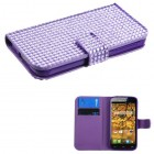 Alcatel One Touch Fierce Purple Diamonds Book-Style Wallet (with Card Slot)