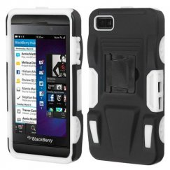 Blackberry Z10 Black/White Advanced Armor Stand Case - Rubberized