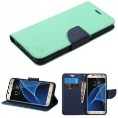 Samsung Galaxy S7 Edge Teal Green Pattern/Dark Blue Liner wallet with Card Slot