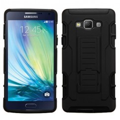 Samsung Galaxy A7 Black/Black Car Armor Stand Case - Rubberized