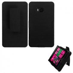 Nokia Lumia 810 Rubberized Black Hybrid Holster