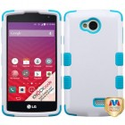 LG Tribute Ivory White/Tropical Teal Hybrid Phone Protector Cover