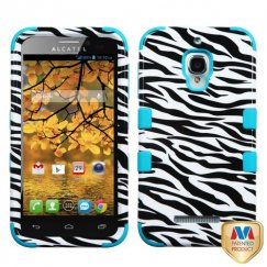 Alcatel One Touch Fierce Zebra Skin/Tropical Teal Hybrid Case
