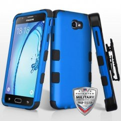 Samsung Galaxy On7 Titanium Dark Blue/Black Hybrid Case Military Grade with Black Horizontal Holster