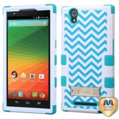 ZTE ZMax Blue Wave/Tropical Teal Hybrid Case with Stand