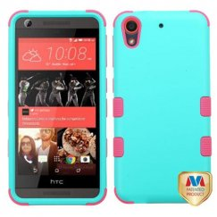 HTC Desire 626 Rubberized Teal Green/Electric Pink Hybrid Case