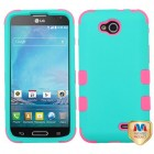 LG Optimus L90 Rubberized Teal Green/Electric Pink Hybrid Case
