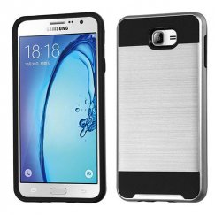 Samsung Galaxy On7 Silver/Black Brushed Hybrid Case