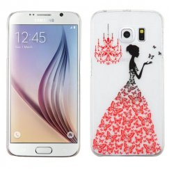 Samsung Galaxy S6 Red Butterfly Gown Embossed Painting Back Case with Diamonds