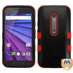 Motorola Moto G 3rd Gen Natural Black/Red Hybrid Case