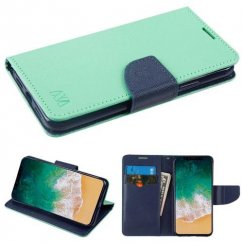 Apple iPhone X Teal Green Pattern/Dark Blue Liner wallet with Card Slot