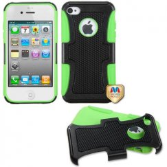 Apple iPhone 4/4s Natural Black/Electric Green Frosted Fusion Case