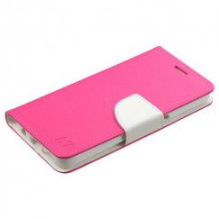 Samsung Galaxy S7 Hot Pink Pattern/White Liner wallet with Card Slot