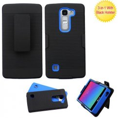 LG Escape 2 Black/Dark Blue Advanced Armor Case with Black Holster
