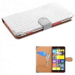 Nokia Lumia 1320 White Crocodile Skin Wallet (with Metal Diamonds Buckle & Silver Plating Tray)