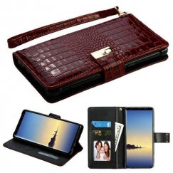 Samsung Galaxy Note 8 Burgundy Crocodile-Embossed Wallet