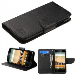Huawei Union Y538 Black Pattern/Black Liner wallet with Card Slot