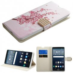 LG G Stylo Spring Flowers Wallet with Diamante Belt