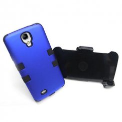 Samsung Galaxy S4 Titanium Dark Blue/Black Hybrid Case with Black Holster