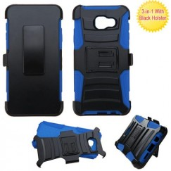 Samsung Galaxy A3 Black/ Blue Advanced Armor Stand Case with Black Holster